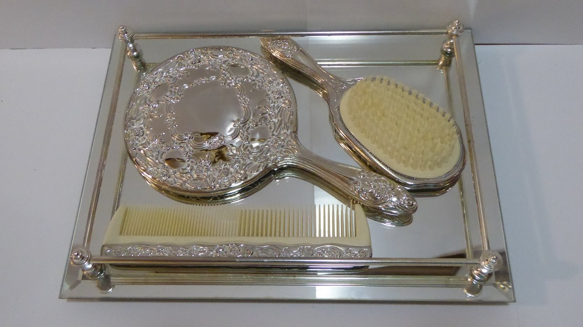 ... silver plated dresser set with tray comb brush . vanity ... & vanity tray set with brush and comb and perfume bottles - 28 images ...