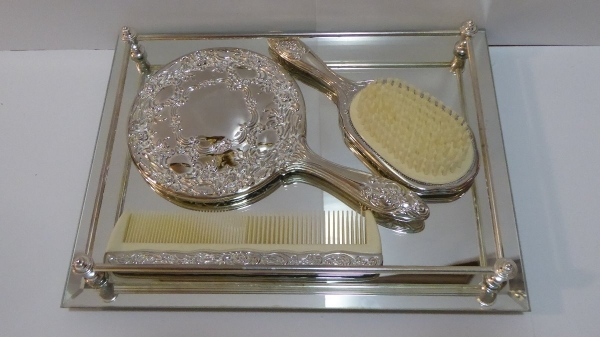 Vintage Silver Plated Dresser Set With Tray Comb Brush