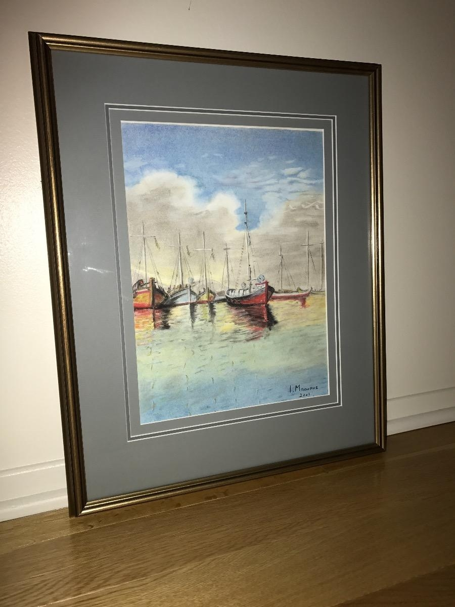 Handmade Watercolour Sailing Boats Painting Includ Wooden